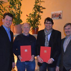 vlnr Dr. Christoph Weltecke, Dieter Schaake, Achim Nikolaiczek und stellv. OV Vorsitzender Jürgen Wilden.
