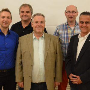 vlnr Andreas Schaake, Dirk Langhammer, Karl-Heinrich Neuschäfer, Martin Cramer und Jens Hankel